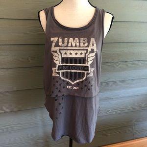 Zumba Fitness Wear Grey Tank Top Medium M Raw Hem